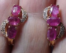 STUNNING! NATURAL GENUINE PINK RUBY EARRINGS 925 STERLING SILVER Yellow Rose gol