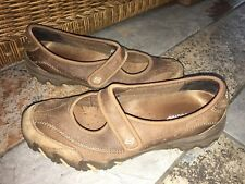 Skechers Womens Brown Leather Velcro Mary Janes Flats Shoes Size 8