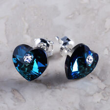925 Sterling Silver Stud Earrings Hearts Bermuda Blue Crystals from Swarovski®
