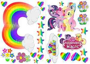 Wafer Stand up My Little Pony Rainbow Stars Hearts Happy Birthday Cake Toppers