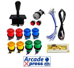 Kit Arcade Joystick x1 Americano negro 11 botones Usb 1 player Bartop