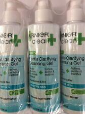 3 X Garnier Clean+ Clarifying Cleansing Gel Sensitive Skin, 8 Fluid Ounces NEW.