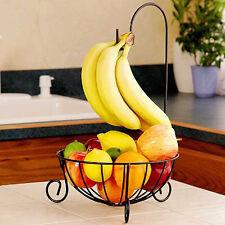 Kitchen Metal Fruit Basket Rack Stand with Detachable Banana Hanger Holder Hook