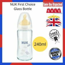NUK First Choice 240ml Glass Bottle Latex Teat Size 1 (0-6m)