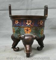 """6.8 """"Encensoir à fleurs pieds en bronze cloisonné, ancien palais chinois bronze"""