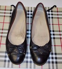 Designer BURBERRY Ladies Black Ballet Flat Shoes 37 ITALY
