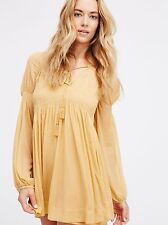 Free People Lini Smocked Mini Dress - Beige- Size M- New with minor defect
