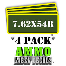 "7.62X54R Ammo Label Decal Ammunition 3"" x 1"" Can stickers 4 PACK -YWagRD"