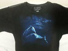 Billabong X White Mike T-Shirt Mens Size M Black Great White Shark Ocean Surf