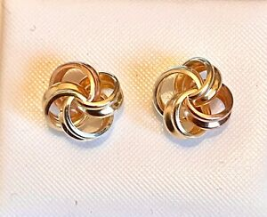 9ct Yellow Red And White Gold Knot Stud Earrings