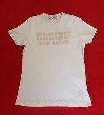 Reply T-Shirt beige mit Applikation gesticktem Schriftzug