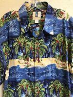 Kahala Island Palm Tree Print Hawaiian Shirt Mens Size XL Surf Shack Beach Blue