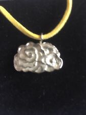 "Cluster Cloud TG260  Fine English Pewter On 18"" Yellow Cord Necklace"