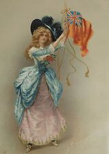 ANTIQUE 1903 Victorian Lady Print Litho Framed AH SONN ENGLAND UK Flag