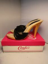Vintage Candies 1980's New In Box Sandals High Heels Slides Sexy Black Leather 8