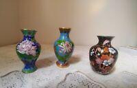 Cloisonné Chinese Miniature Vases Lot of 3 ~ Different Colors Vintage Vases