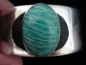 Modern Design Sterling Silver Turquoise Petrified Wood Bracelet Cuff