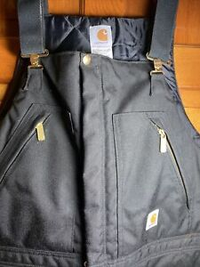 Carhartt Yukon Extremes Insulated Bib Overalls New Without Tags Size 42x30 Black