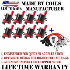 8pc Ignition Coils & Spark Plug Wire Set  For Chevrolet GMC 4.3L 5.3L 6.0L D585