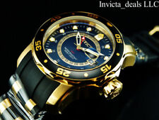 NEW Invicta Men's 48mm PRO DIVER SCUBA Swiss GMT BLACK DIAL Gold Tone SS Watch