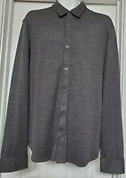 JOHN VARVATOS Size L Charcoal Gray Silk / Cotton Button Up Long Sleeve Shirt