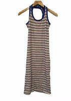 Zara Striped Summer Dress Halter Neck White Red Blue Midi Jersey Size M AU 10