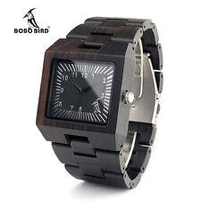 BOBO BIRD L23 Ebony Wooden Mens Watches Brand Design Square Wood Quartz Watch
