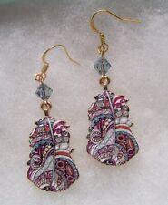 Earrings Enamel Paisley