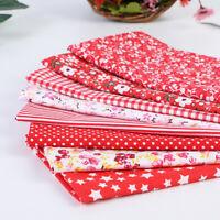 8Stücke Rot Blume Baumwollstoff Stoffpaket Patchwork DIY Nähen Baumwolltuch