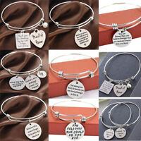 Inspirational Charm Bracelet Silver Bangle Sisters Gifts Heart Pendants Jewelry