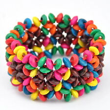 Fashion Colourful wood bead bracelet elastic bangle