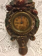Vintage Carved Wood Look Wall Clock Syroco Non Working Victorian Roses Baskets