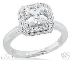 2 carat, 1.51 ct Radiant cut Diamond Wedding Halo Engagement 14K Gold Ring/Loose