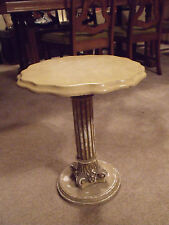 Vintage Italian Style Key Table Faux Marble Scalloped Sofa Accent End Table