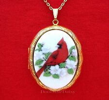 Locket Pendant Necklace Birthday Gift Porcelain Cardinal & Apple Blossom Cameo