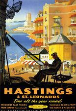 Hastings & St Leonards bien todo el año todo Tren Ferrocarril viajar cartel impresión