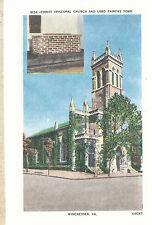 Christ Episcopal Church & Lord Fairfax Tomb Winchester Va Postcard 6103