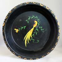 "Antique Vintage TOLEWARE Hand Painted Tin PA Dutch 9"" PIE PAN Bird"