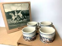 4 Vintage Polo Ralph Lauren Sport Series Mugs Equestrian Coffee Cups Japan 1986