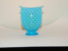 Fenton Blue opalescent Hobnail Vase over 3 inches tall (12366)