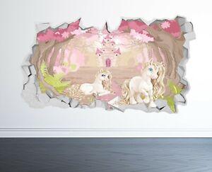 UNICORN WALL STICKER 3D LOOK - BOYS GIRLS BEDROOM ENCHANTED WALL DECAL Z1023