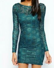 Lipsy Sexy Lace Bodycon Dress 8 Teal Green Long Sleeve Sparkly Club Xmas Party