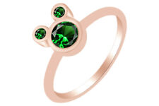 Round Shape Emerald Mickey Mouse Ring 14K Rose Gold Over Sterling Silver