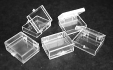 12 Small Plastic Boxes with Hinged Lids
