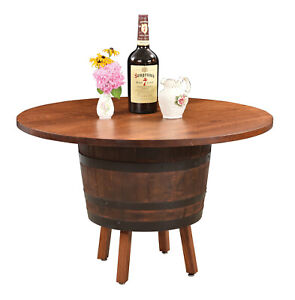 """Amish Rustic Round 48"""" Whiskey Barrel Dining Table Solid Wood Top Game Room"""
