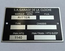 Plaque constructeur BUGGY RITTER - BUGGY RITTER vin plate
