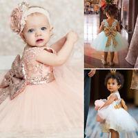 Kids Baby Girl Princess Dress Sequins Bowknot Ball Party Bridesmaid Tutu Gown US