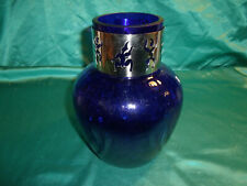 ~ alte schwere Blumenvase Glas WMF blau transparent Cromargan Band silber Tänzer