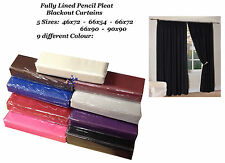 Thermal Fully Lined Solar Blackout Pair Pencil Pleat Ready Made Curtains 5 Size