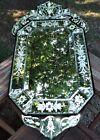 "Antique Venetian Mirror Wall Mirror Cut & Beveled Designs AMAZING Cond! 30"" x16"""